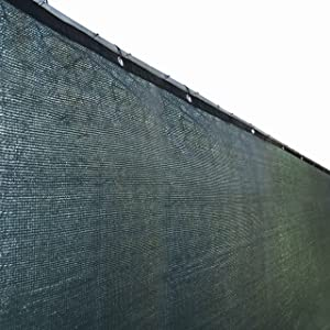 ALEKO PLK0425DG Fence Privacy Screen Outdoor Backyard Fencing Windscreen Shade Cover Mesh Fabric with Grommets 4 x 25 Feet Dark Green