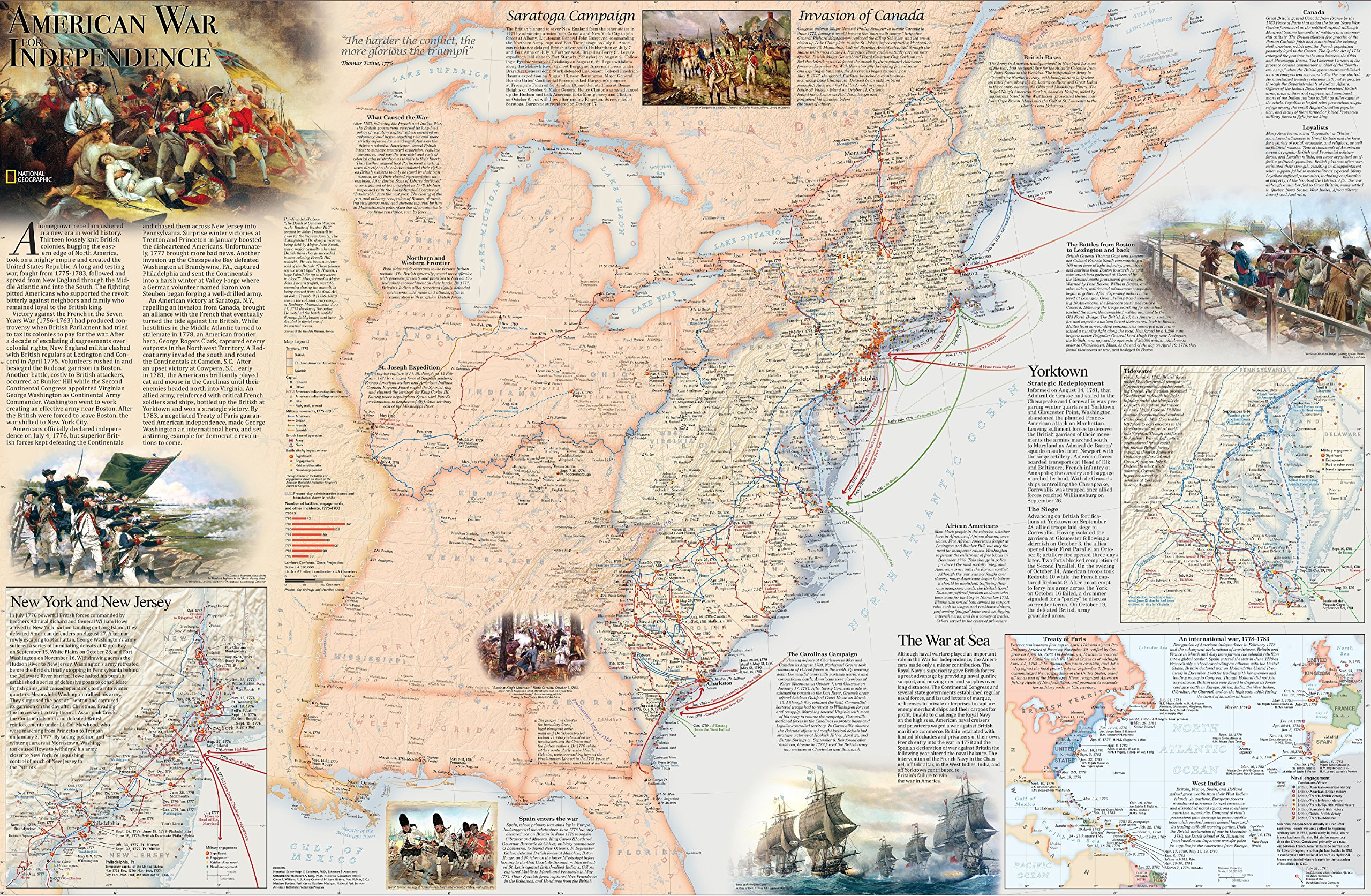 Battles of the Revolutionary War Map: National Geographic Society ...
