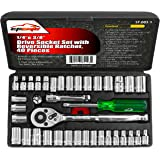 40 Pieces - EPAuto 1/4-Inch & 3/8-Inch Drive Socket Set with Reversible Ratchet