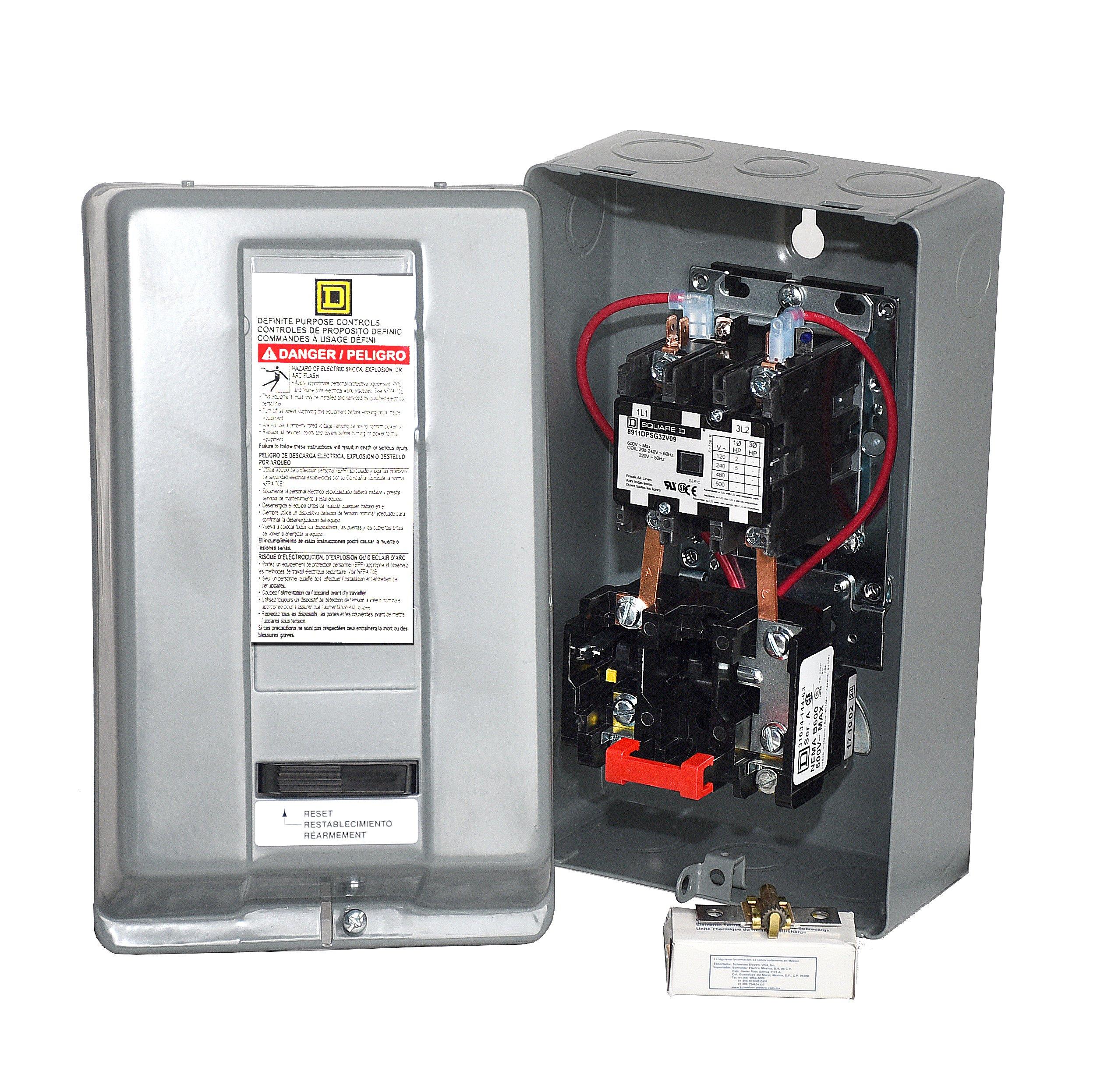 SQUARE D MAGNETIC STARTER CONRTROL ELECTRIC MOTOR 8911DPSG42V09 7.5HP 1-PH 230V by I.E.E (Image #2)