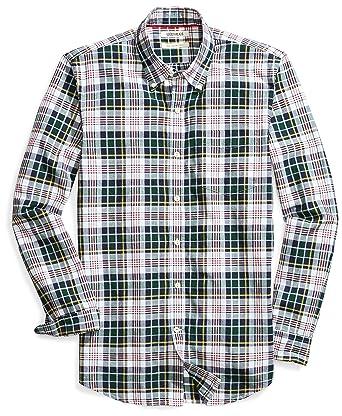 09037dc3d763 Goodthreads Men's Slim-Fit Long-Sleeve Lightweight Madras Plaid Shirt,  Green/White