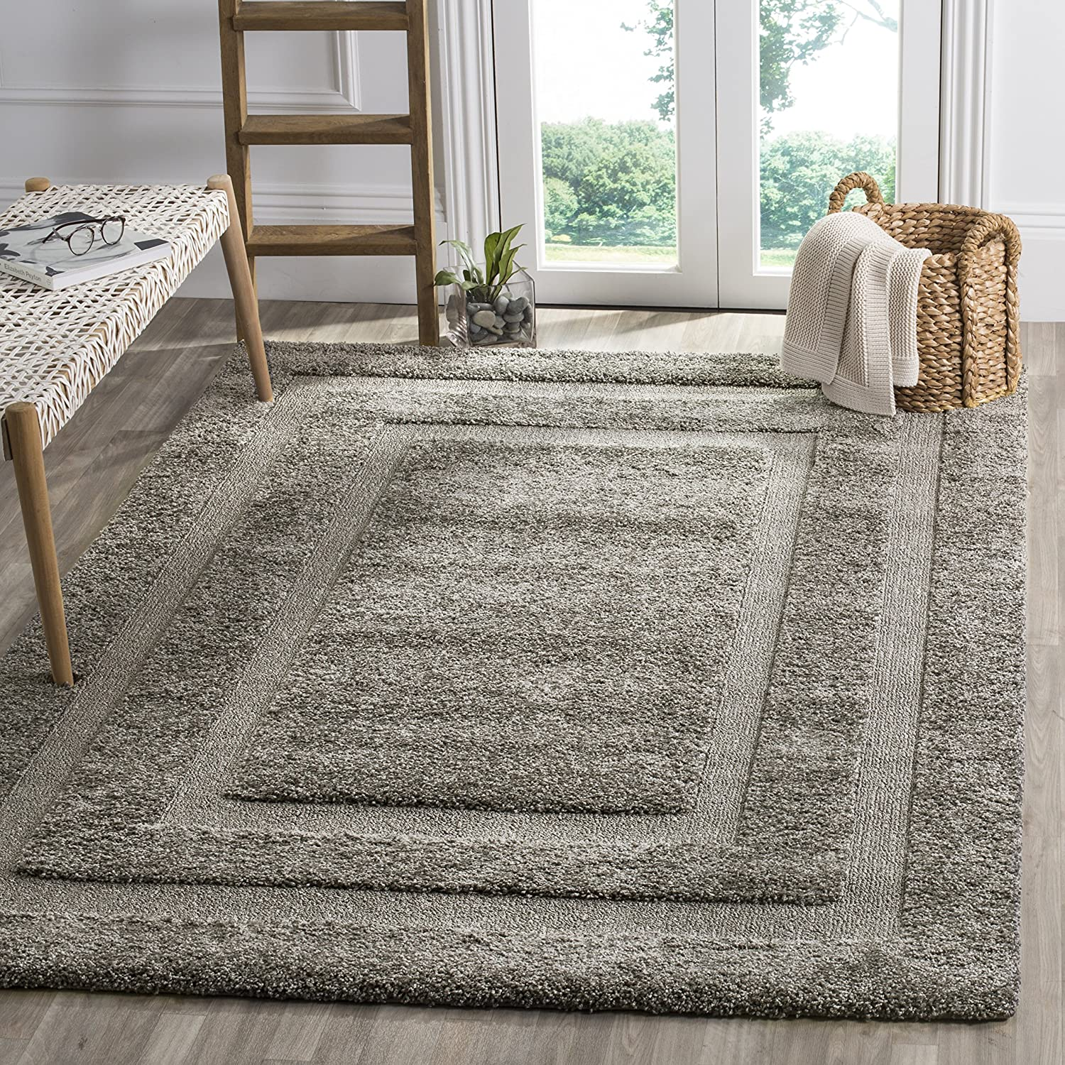 Safavieh Shadow Box Shag Collection SG454-8080 Grey Area Rug (4