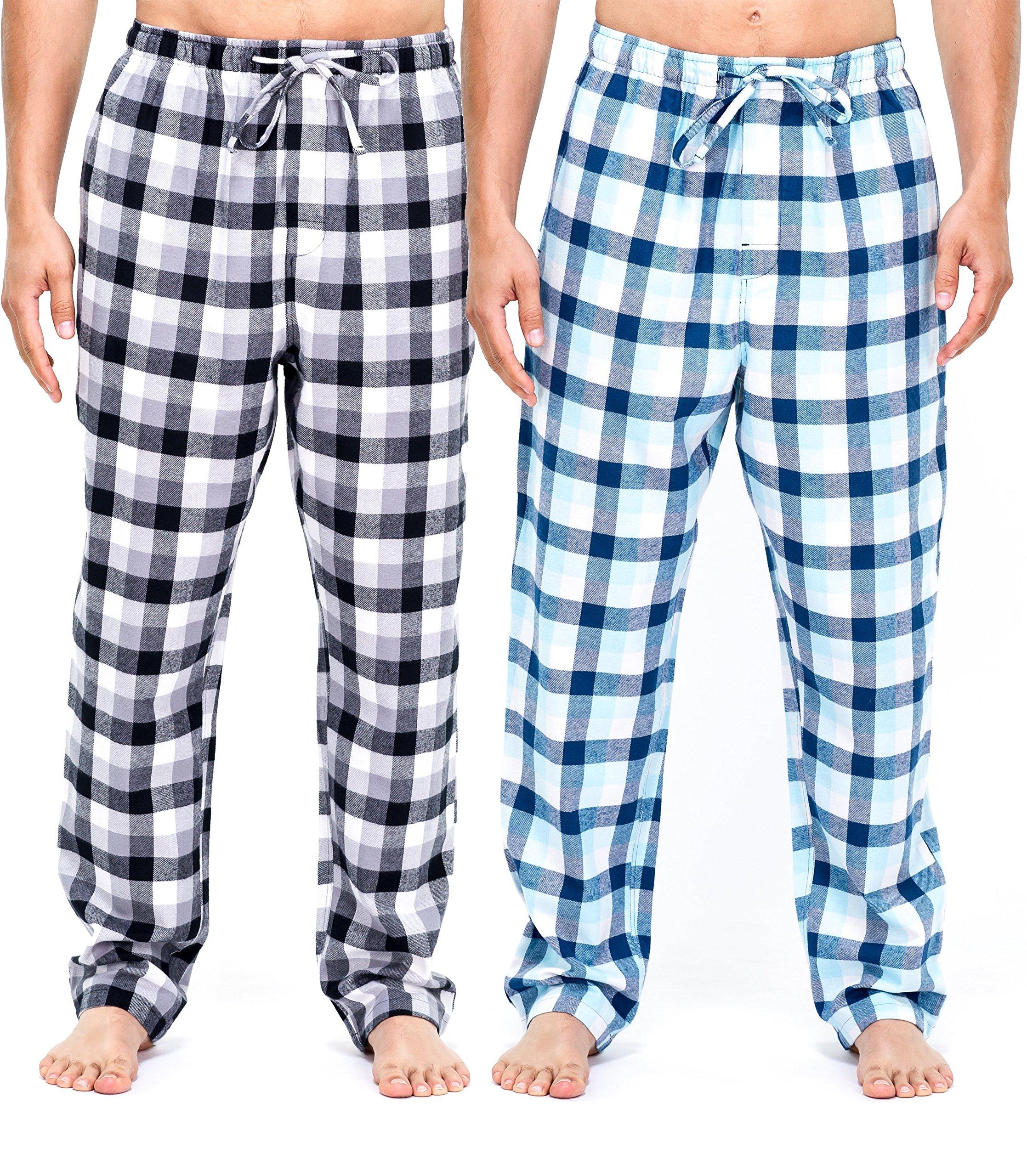 Mens Flannel Pants - 2pk [Black/White - Blue/White Checks Set] - M