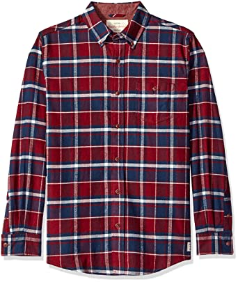 c5fe7e62f349 Weatherproof Vintage Men's Long Sleeve Flannel Shirt, Port Small at ...