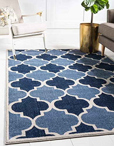 Unique Loom Trellis Collection Moroccan Lattice Light Blue Area Rug 9 0 x 12 0