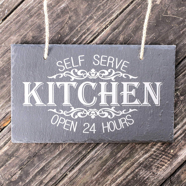 Amazon com self serve kitchen open 24 hours slate sign 11x7in handmade