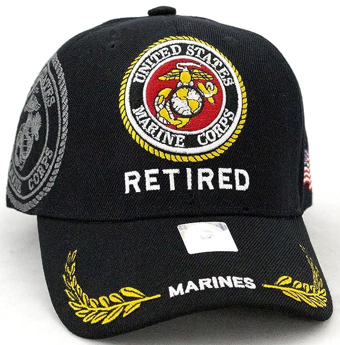 afd915ce765 United States Marine Corps Retired Black Baseball Cap at Amazon ...