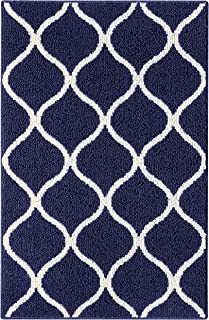 product image for Maples Rugs Rebecca Contemporary Kitchen Rugs Non Skid Accent Area Carpet [Made in USA], 2'6 x 3'10, Navy Blue/White
