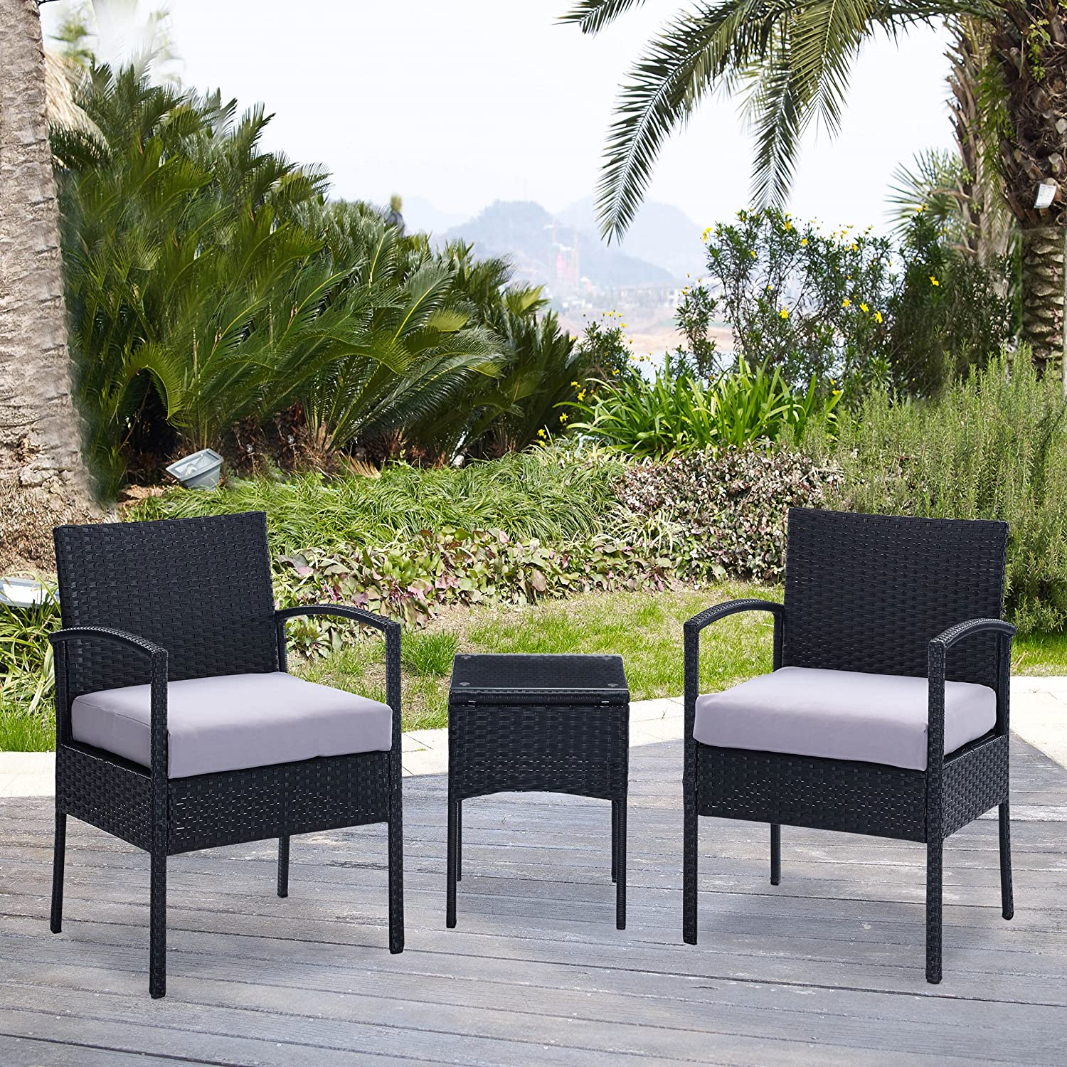patio furniture white. EBS 3 Piece Rattan Wicker Patio Garden Lawn Furniture Outdoor / Indoor Complete Set With Coffee Table + Chairs For 2 - Black PE: Amazon.co.uk: \u0026 White