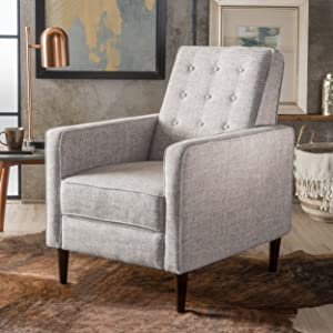 Christopher Knight Home 300596 Macedonia Mid Century Modern Tufted Back Light Grey Tweed Fabric Recliner, Single