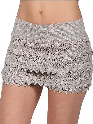Cotton Natural Women's Lace Crochet Shorts Beach Miniskirts (3Xlarge, Brown)