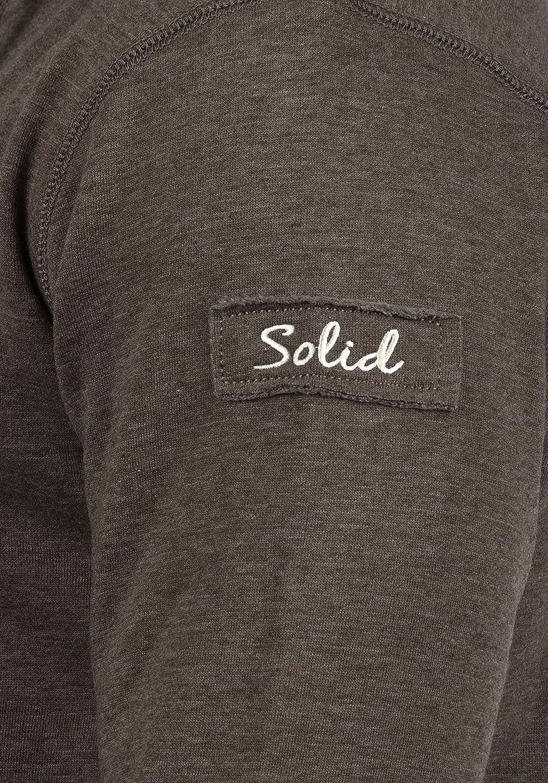 !Solid TripTroyer Herren Sweatshirt Pullover Troyer Pulli mit Stehkragen und Knopfverschluss