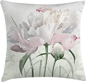 Ambesonne Flower Throw Pillow Cushion Cover, Floral Pink Roses Tulips Abstract Garden Leaves with Petals and Buds Detailed Print Image, Decorative Square Accent Pillow Case, 20