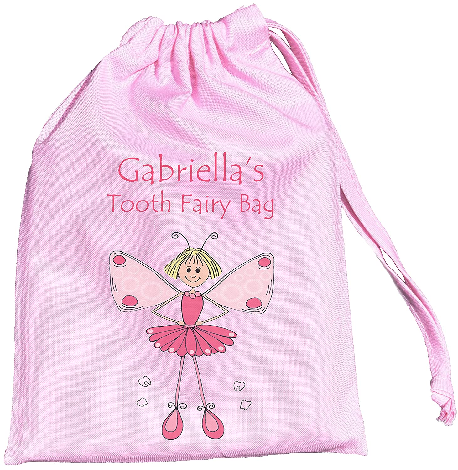 Personalised - Pink Tooth Fairy Bag - Tiny Drawstring Cotton Bag