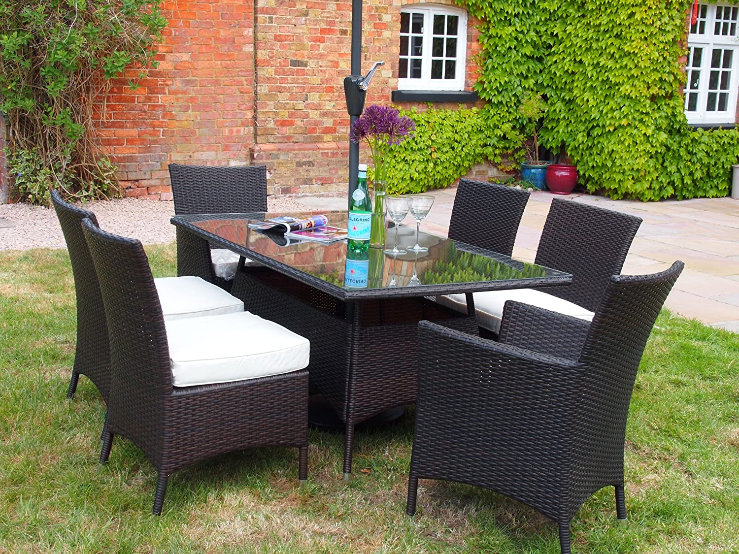 barcelona rectangular grey rattan garden furniture table and 6 chairs dining set amazoncouk kitchen home