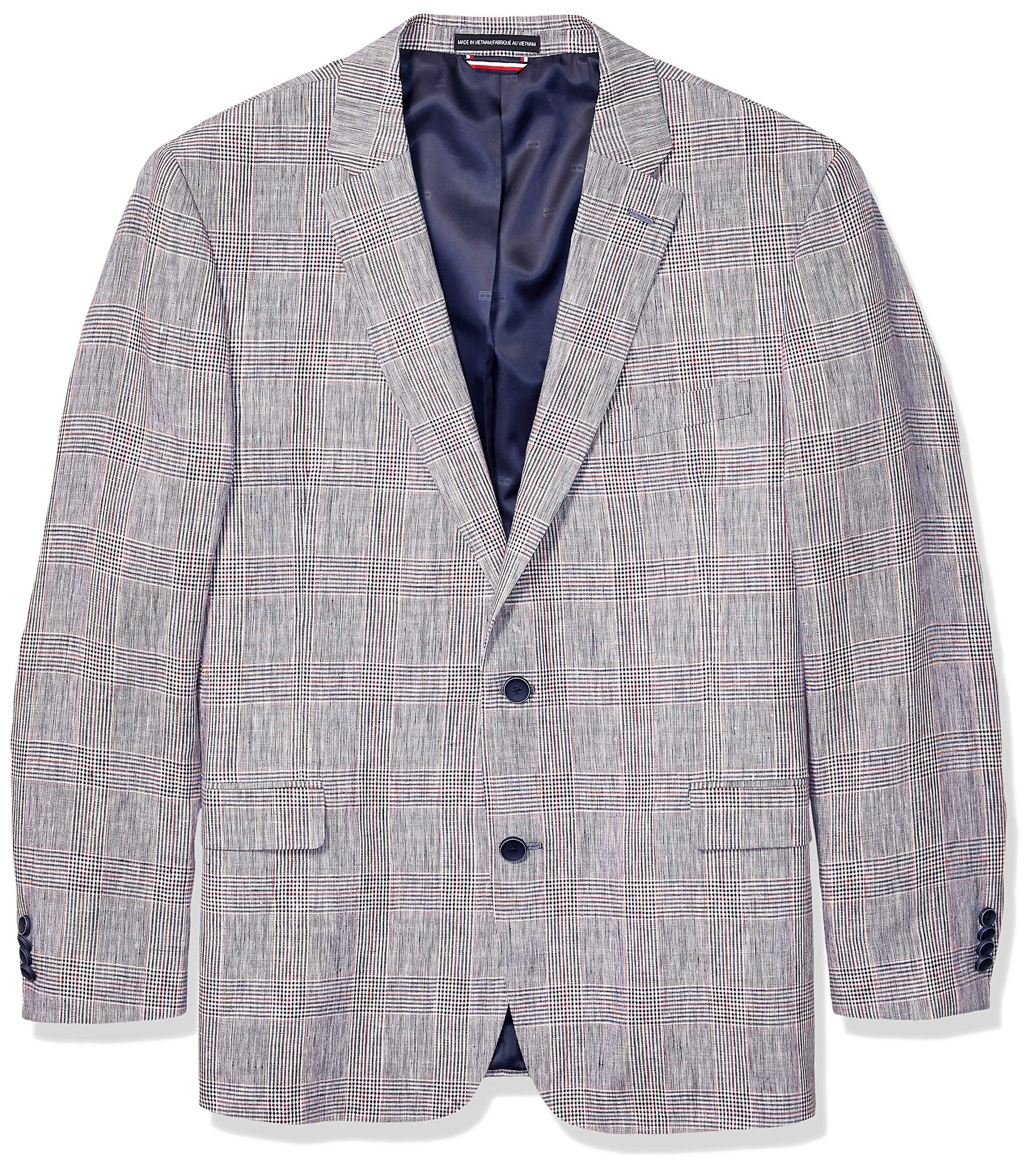 Tommy Hilfiger Men's Big and Tall Modern Fit Stretch Comfort Blazer, USA Plaid, 48R