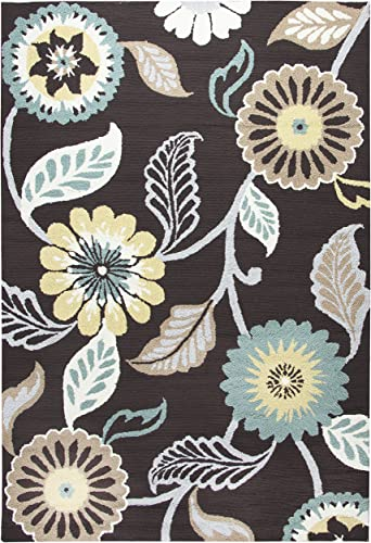 Rizzy Home Azzura Hill Collection Polypropylene Area Rug, 9 x 12 , Espresso Teal Ochre Yellow Gray