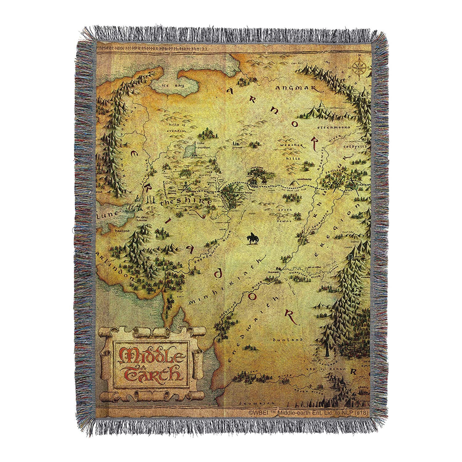 "Warner Brothers The Hobbit, Middle Earth Woven Tapestry Throw Blanket, 48"" x 60"", Multi Color"