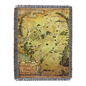 """Warner Brothers The Hobbit, Middle Earth Woven Tapestry Throw Blanket, 48"""" x 60"""", Multi Color"""