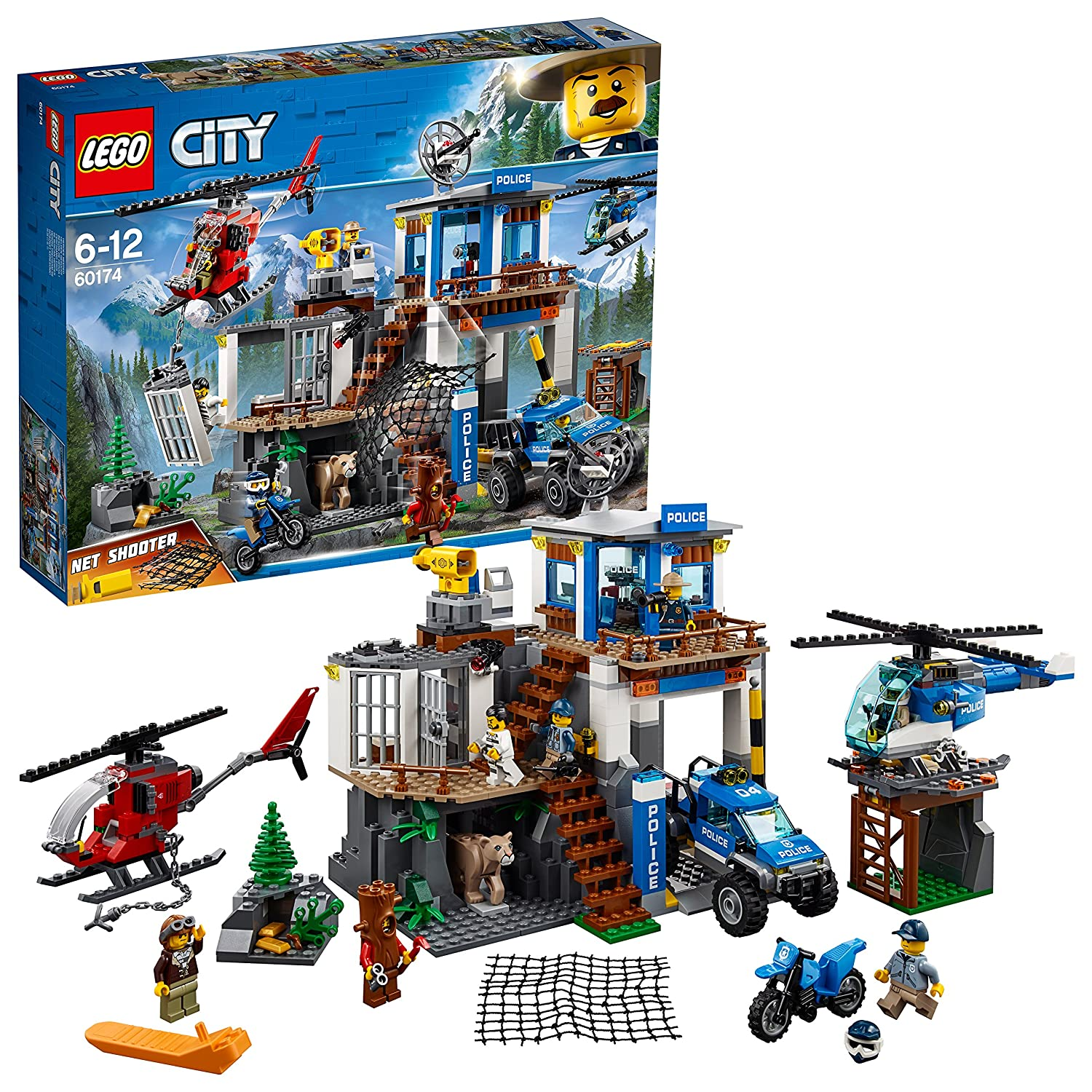 Lego 60174 City Police Mountain Headquarters Building Set Toy Bad Boy Buggy Wiring Schematic Helicopter And 4x4 Car Toys For Kids Games