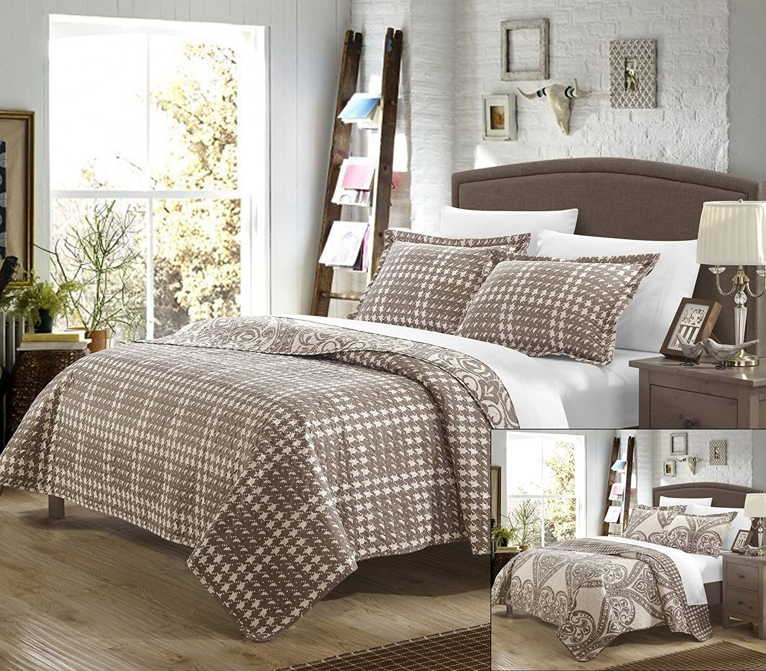 Perfect Home 3 Piece Pastola REVERSIBLE printed Quilt Set. Front a traditional pattern and Reverses into a houndstooth pattern, Queen, Beige