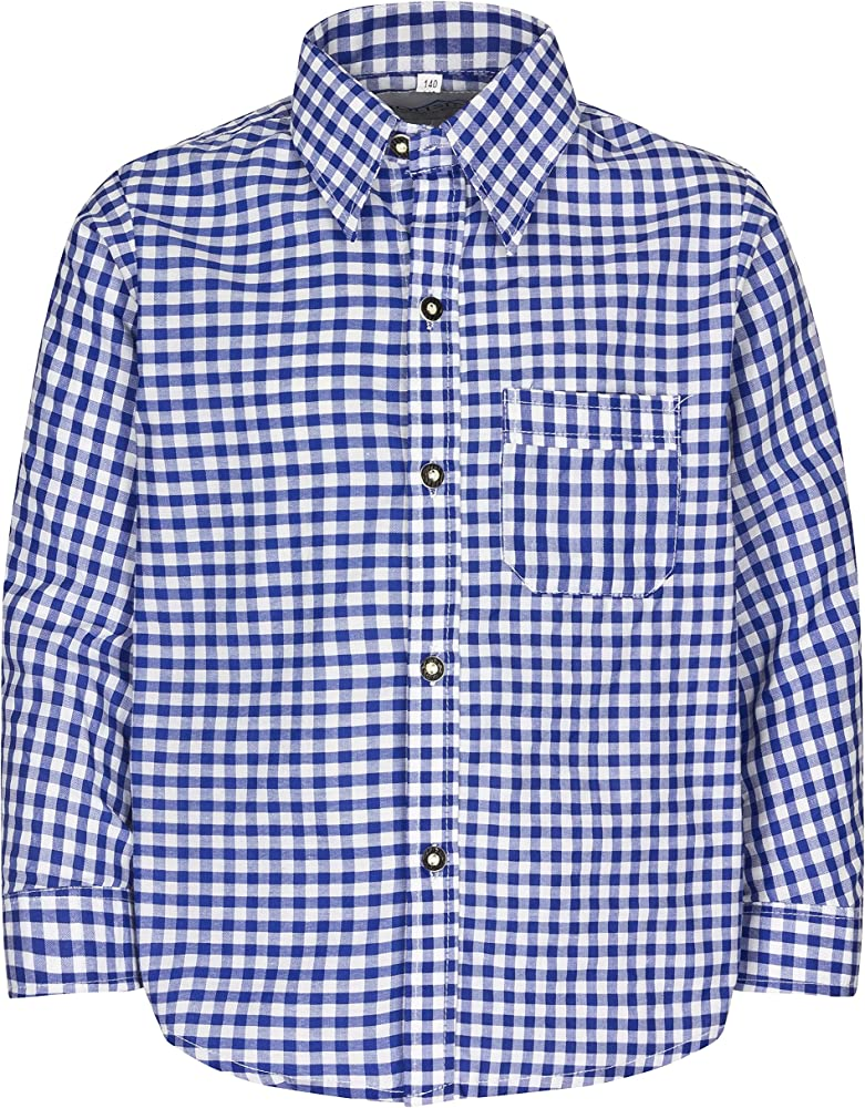 Niños Traje Camisa para niño y niña – Rojo o Azul a Cuadros – Tamaño 86 hasta 158 – Original FROHSINN azul / blanco 92 : Amazon.es: Ropa y accesorios