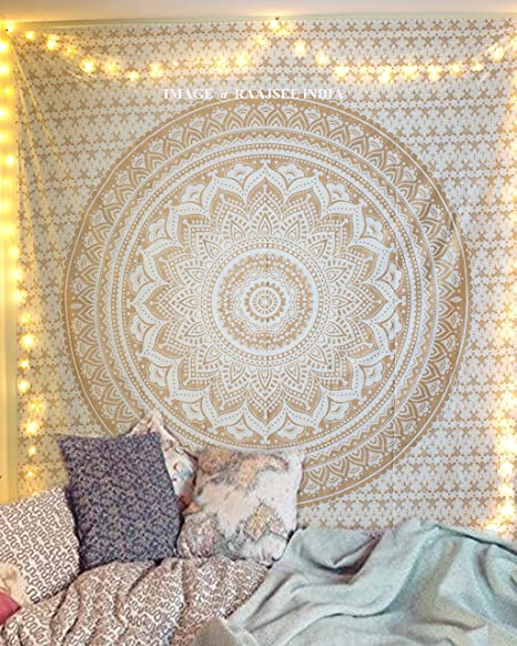 Raajsee Top Selling Original Gold Mandala Ombre Tapestry Wall Hanging Boho Bohemian Hippie Tapestries Indian Cotton Dorm Decor White Golden Twin Bedspread Meditation Yoga Mat Rug Throw 54x84 Inches Home Kitchen