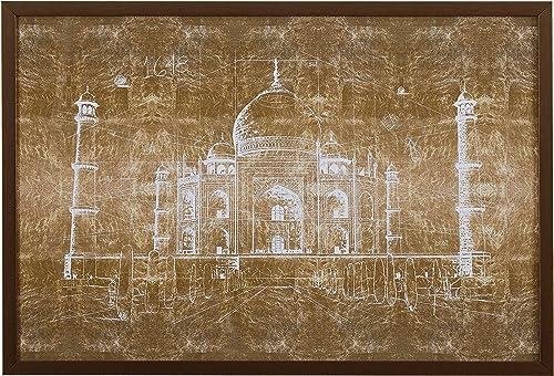 Amazon Brand Rivet White on Bronze Print of Taj Mahal Wall Art