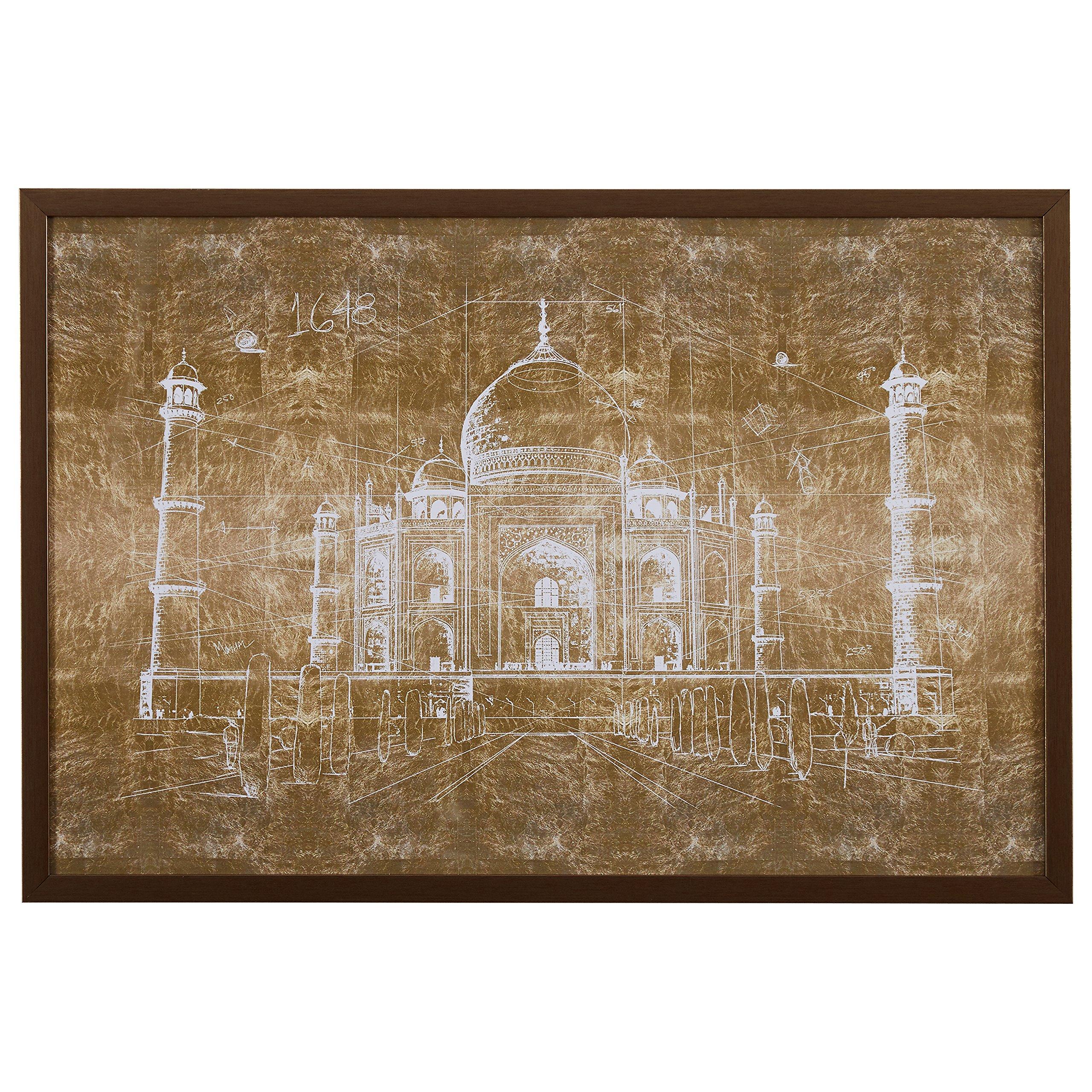 White on Bronze Print of Taj Mahal, Bronze Frame, 32'' x 22''