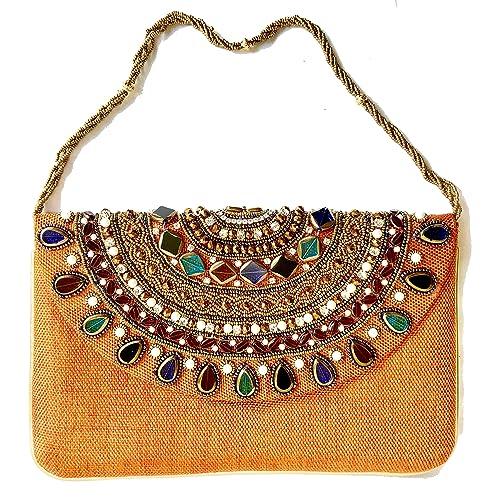 Amazon.com  Amor Women s Beautiful Fashion Clutch Jewel Studded Jute Bag  Purse Lady Handbag (Orange)  Home   Kitchen 18ae5b995a38