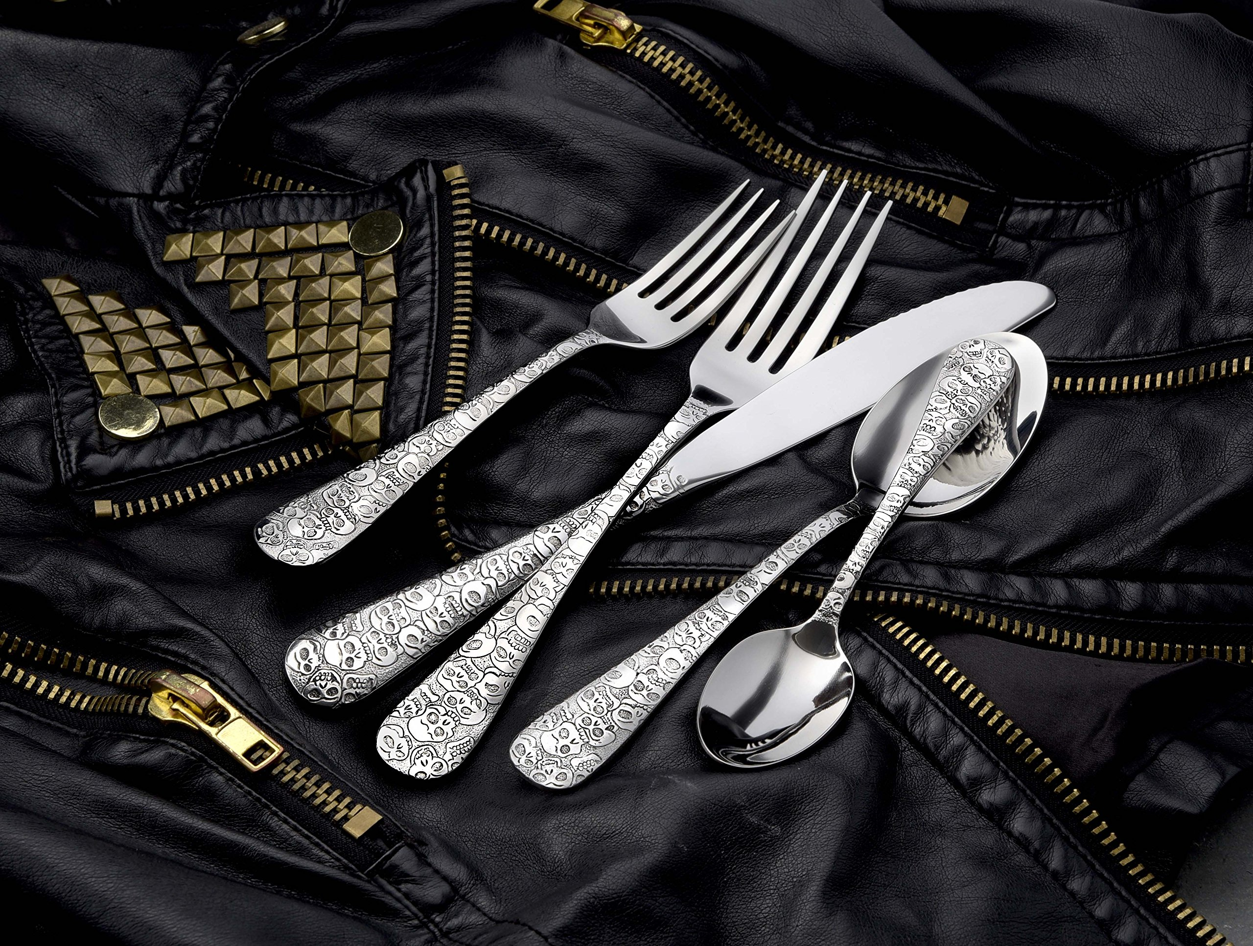 Liberty Tabletop Calavera (Skull) 65 Piece Flatware Set for 12 Made in USA by Liberty Tabletop (Image #5)