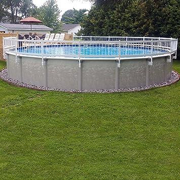 24 inch white economy vinyl works resin above ground pool fence base kit a - Above Ground Pool Fence