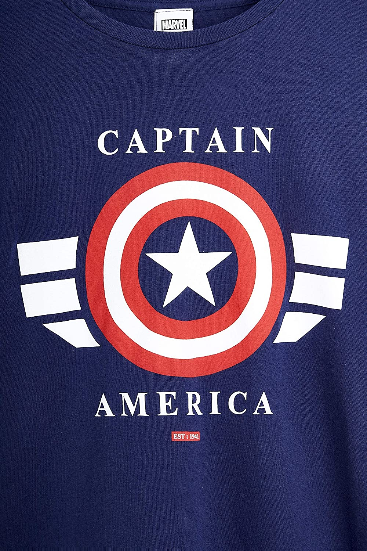 Marvel T Shirt Uomo con Scudo di Captain America Blu Maglietta 100/% Cotone Magliette Uomo Manica Corta Abbigliamento Estivo Idee Regali Uomo Originali Compleanno