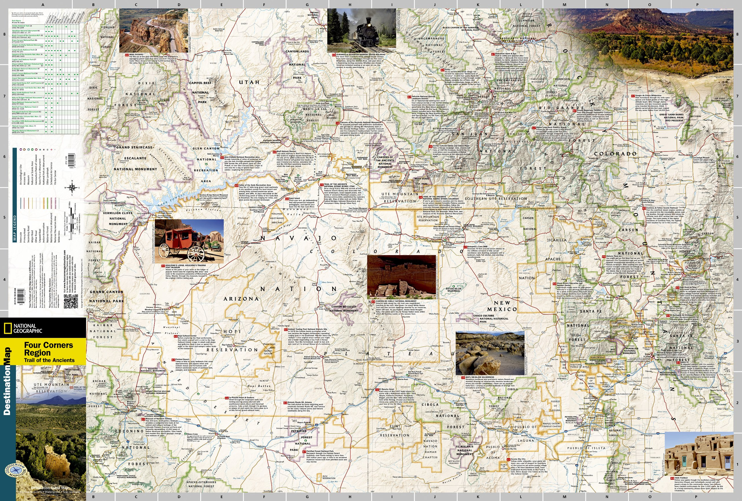 Four Corners Trail Of The Ancients National Geographic - Map of four corners area usa