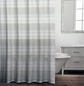Caro Fabric Shower Curtain Tan Beige and Light Gray Vertical Stripes with Gold Horizontal Stripes on White -- Arianna, Neutral