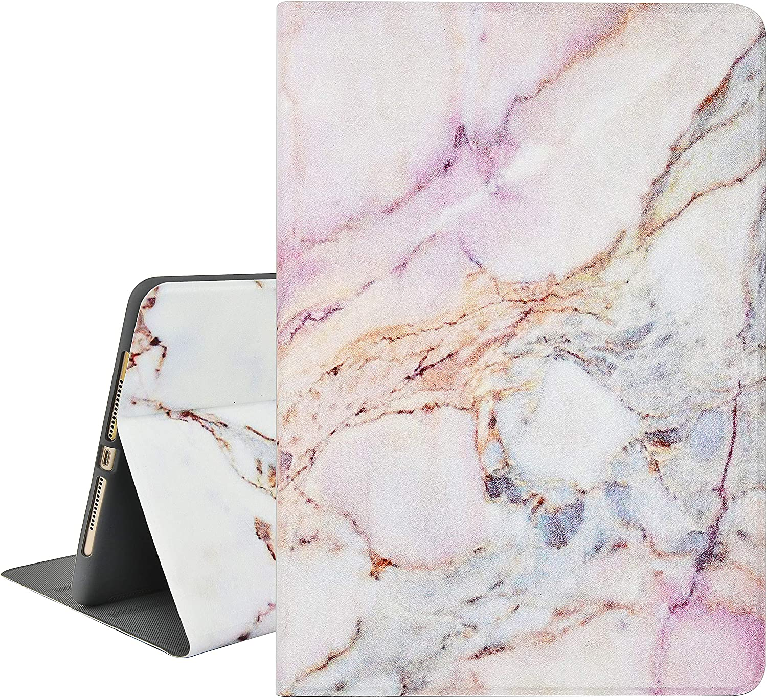 """KECC Case for iPad Air 3rd Gen. 10.5"""" (2019) / iPad Pro 10.5"""" (2017) Smart Protective Cover Multiple Viewing Angles + Auto Sleep/Wake Function (White Marble 4)"""