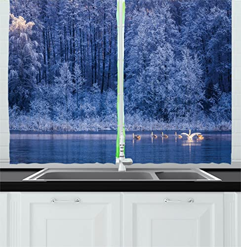 Ambesonne Winter Kitchen Curtains, Swans Swimming Lake Dusk Forest Dramatic Idyllic Nature ICY Snowy Weather Rural Scene, Window Drapes 2 Panel Set for Kitchen Cafe Decor, 55 X 39 , Blue