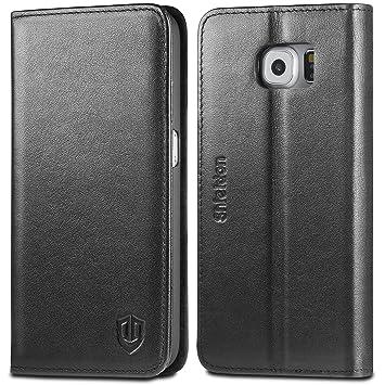 Funda Galaxy S6, SHIELDON funda piel genuino para Samsung Galaxy S6, carcasa piel, soporte plegable, protector cobertura completa, billetera para ...