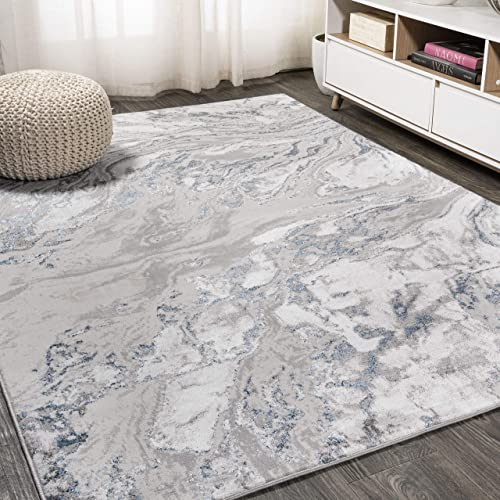 JONATHAN Y Swirl Marbled Abstract Gray/Blue 8 ft. x 10 ft. Area Rug