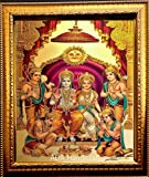ADA Handicraft Lord Shri Ram, Laxman, Sita and Hanuman Hindu God Wooden Photo Frame (23x32cm, Multicolour)