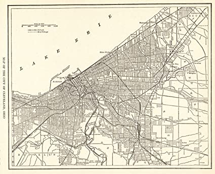 Amazon.com: 1927 Antique Cleveland Map Original Vintage Map of ... on