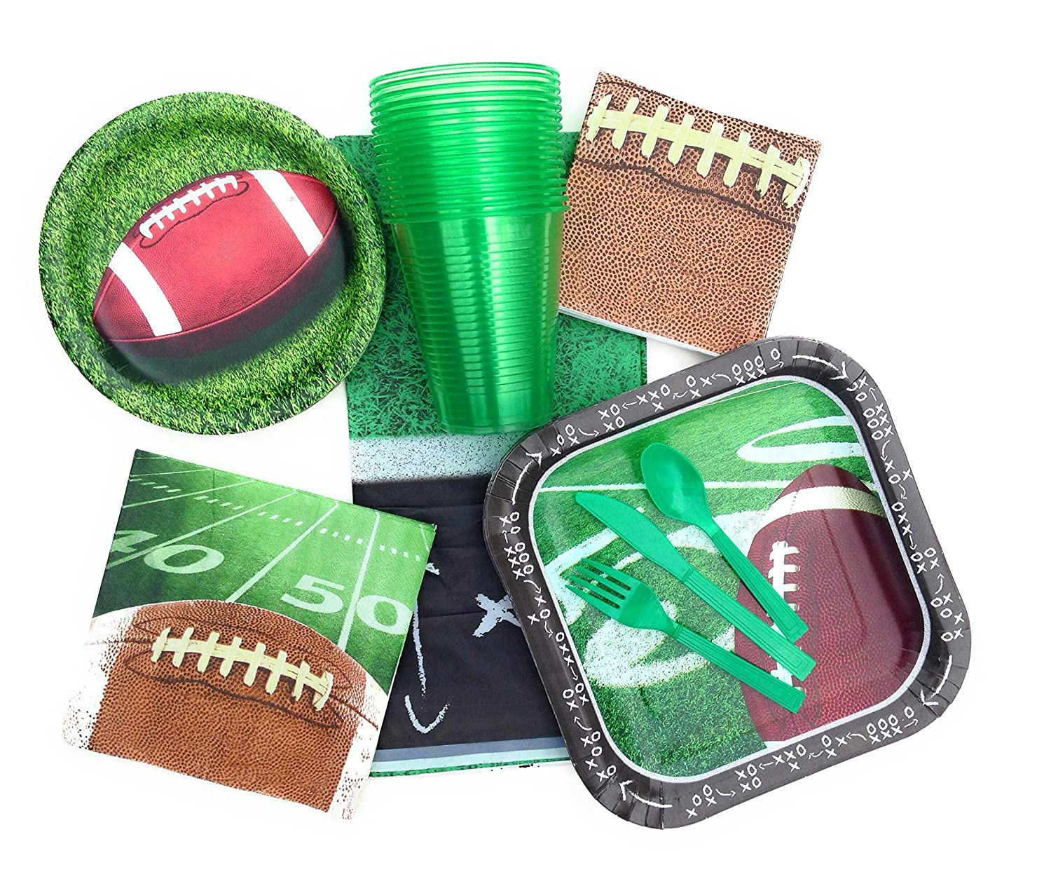 Football Tailgating and Party Supplies - Paper Plates, Napkins
