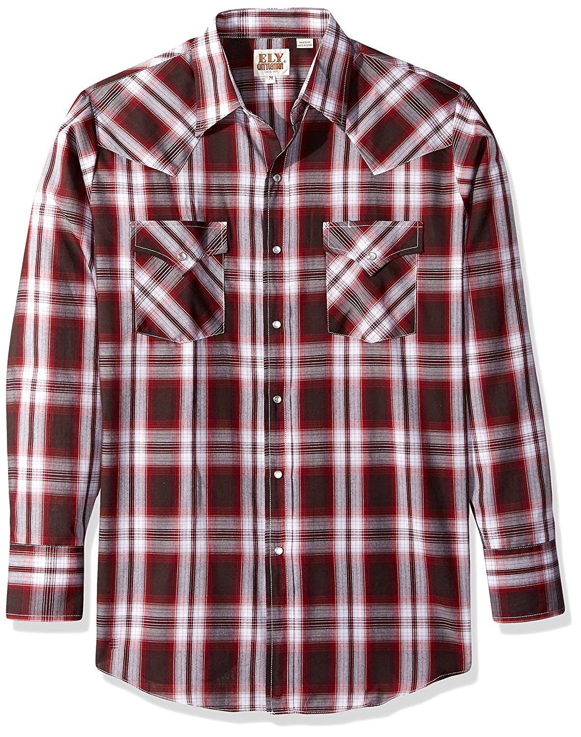 Ely & Walker Mens Standard Long Sleeve Plaid Western Shirt Ely & Walker Apparel 1533707-NVR