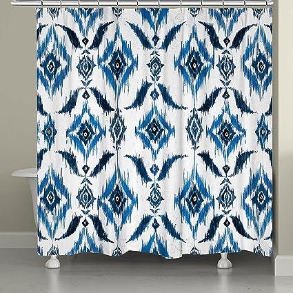 Laural Home Indigo Ikat Shower Curtain 71 X 74 Blue