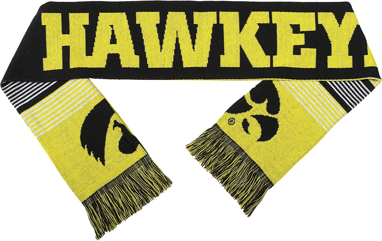 FOCO NCAA Iowa Hawkeyes Reversible Split Logo Scarf