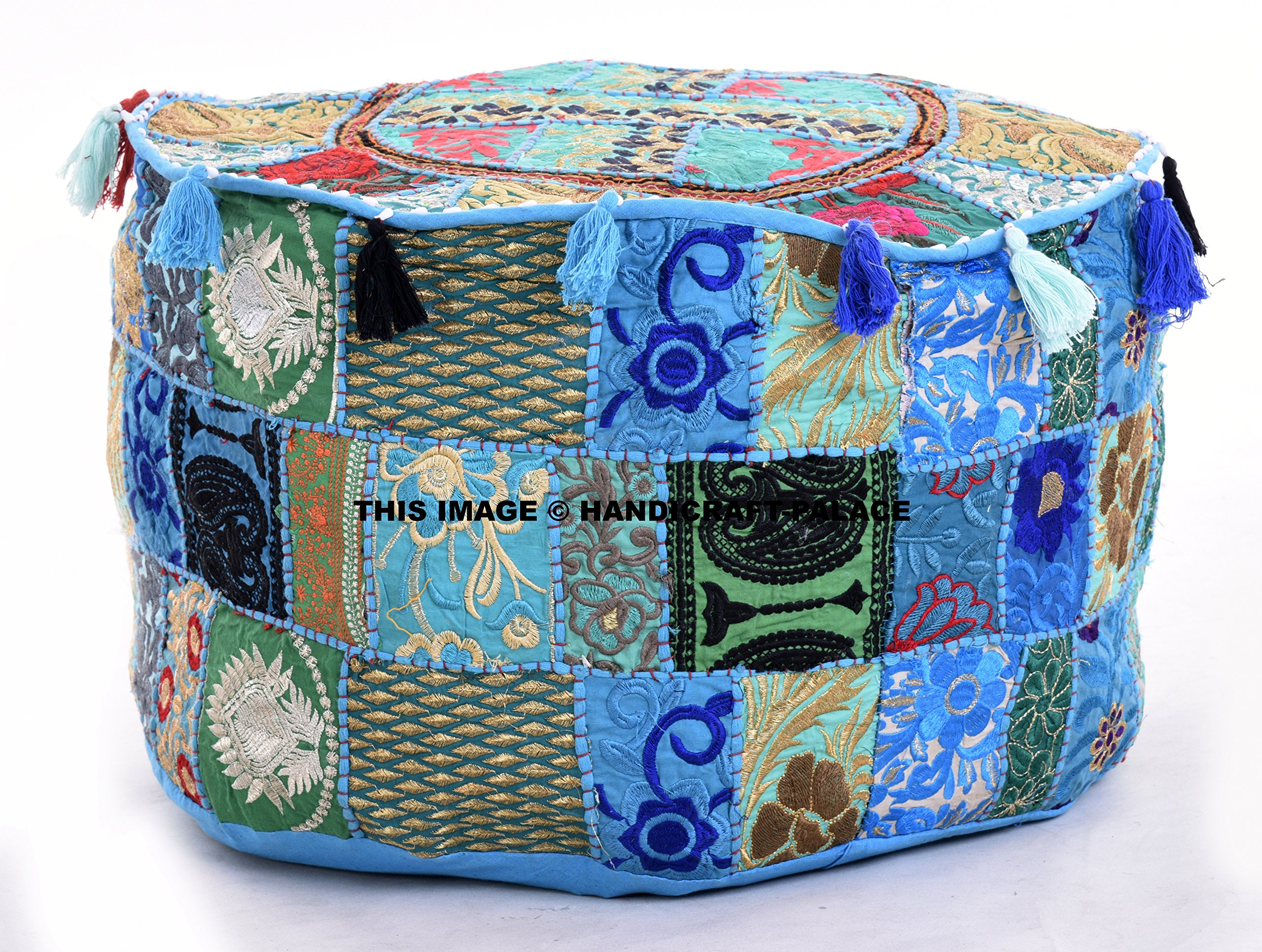 Handicraft-Palace Indian Embroidered Patchwork Ottoman Cover,Traditional Indian Decorative Pouf Ottoman,Indian Comfortable Floor Cotton Cushion Ottoman Pouf,Designs Ethnic Patchwork Pouf 14x22'' By
