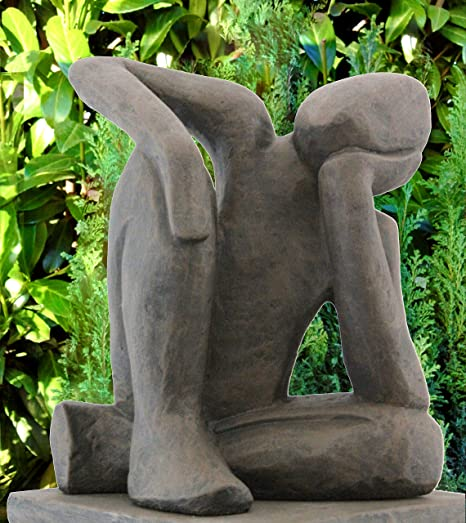 Modern Garden Sculpture   Dreamer, Cast Stone, Dark Brown