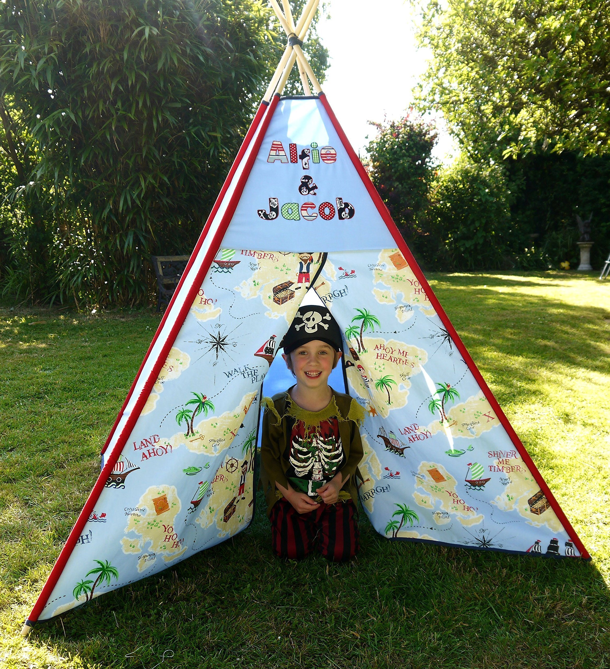 Pirate Teepee Boys girls named Personalized tipi play tent play house Bespoke