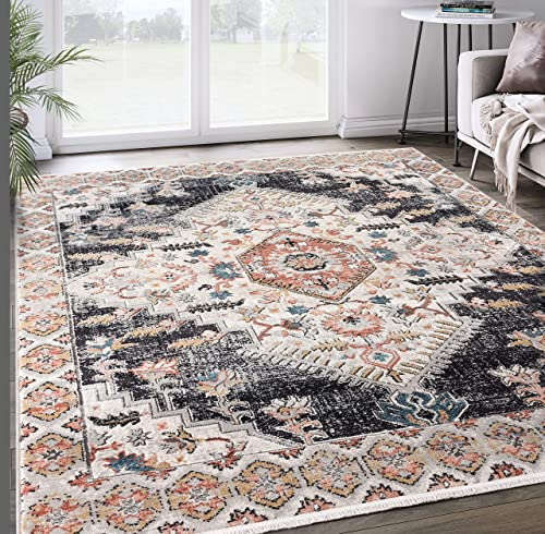 7 9 x10 2 Grey Beige Medallion Area Rug, Azure Collection Classic Accent Rug – Abani Rugs
