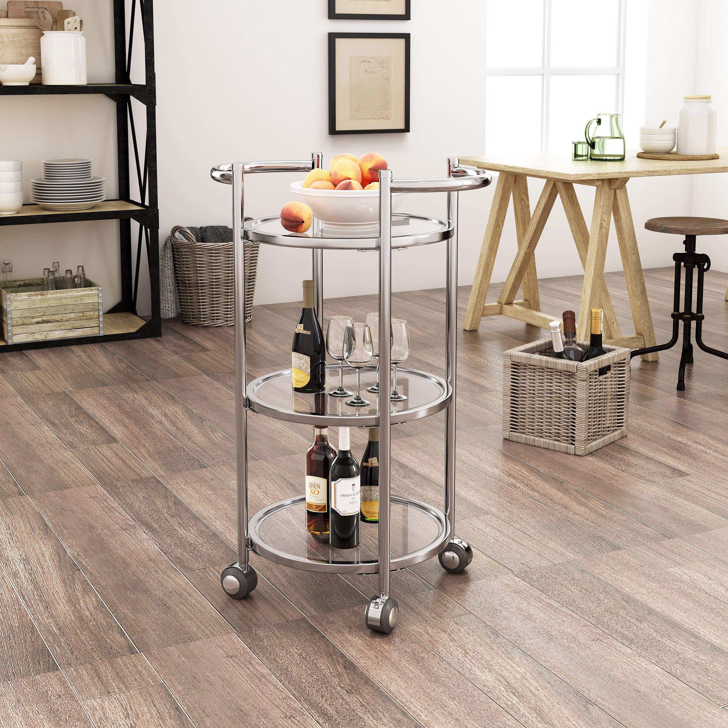 Lorelei Modern Iron and Glass Bar Cart, Silver